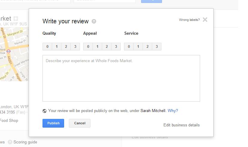 write google local review