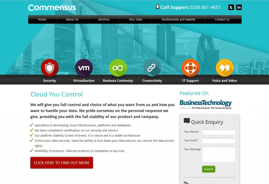 Commensus Website Design Home Page
