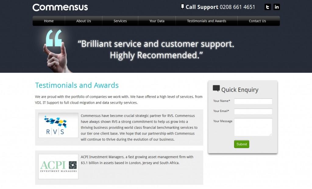 Commensus Website Design Testimonials