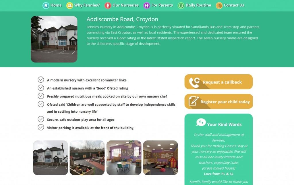 Fennies Responsive Website Design Nursery Page