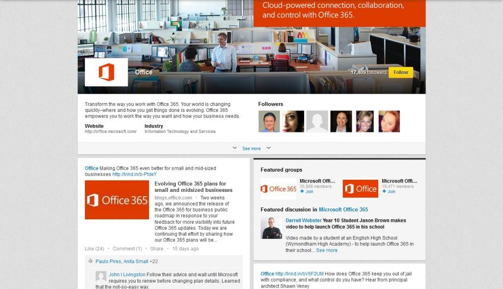 LinkedIn Showcase Page Web design