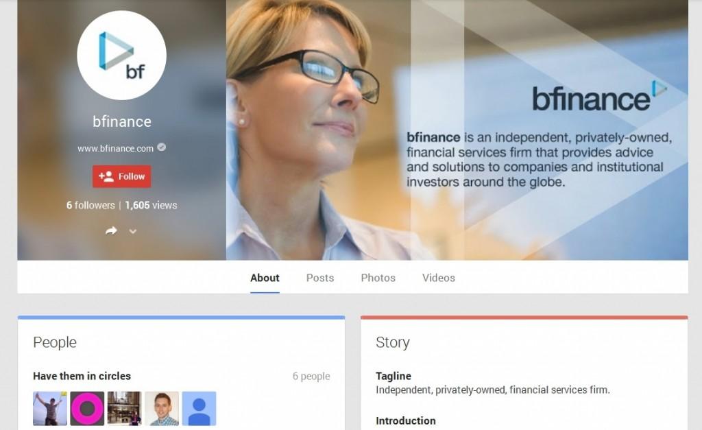 bfinance Google+ page design