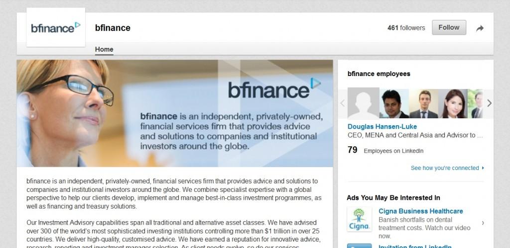 bfinance LinkedIn Page Design