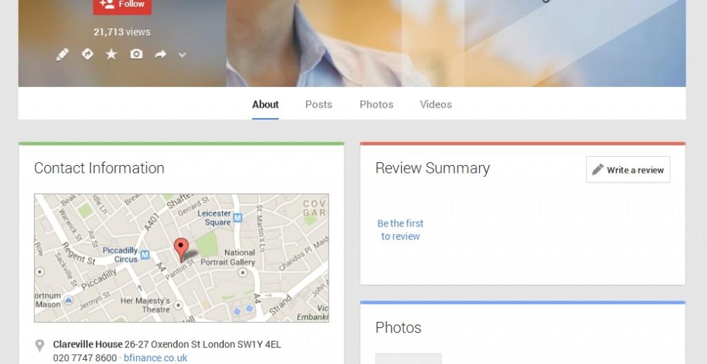 bfinance UK Google+ Page Design