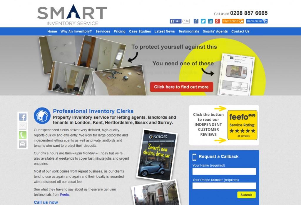 Smart Inventory Service Website Design Homepage