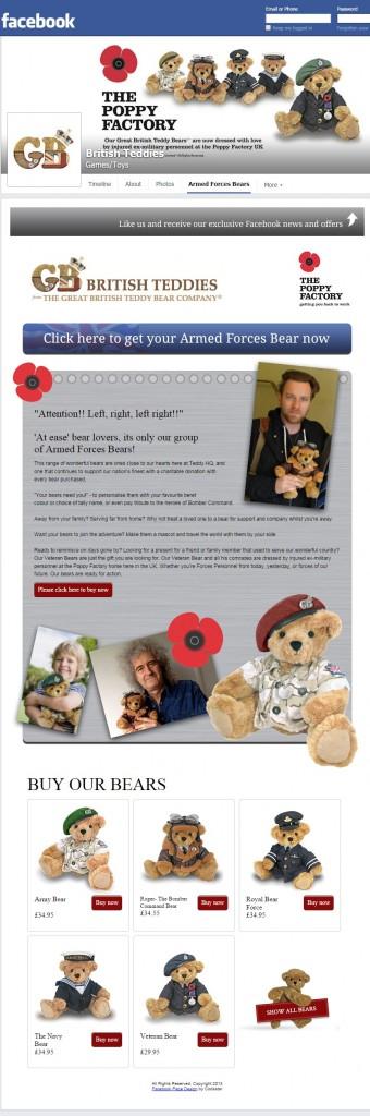 British Teddies Facebook tab design Codastar