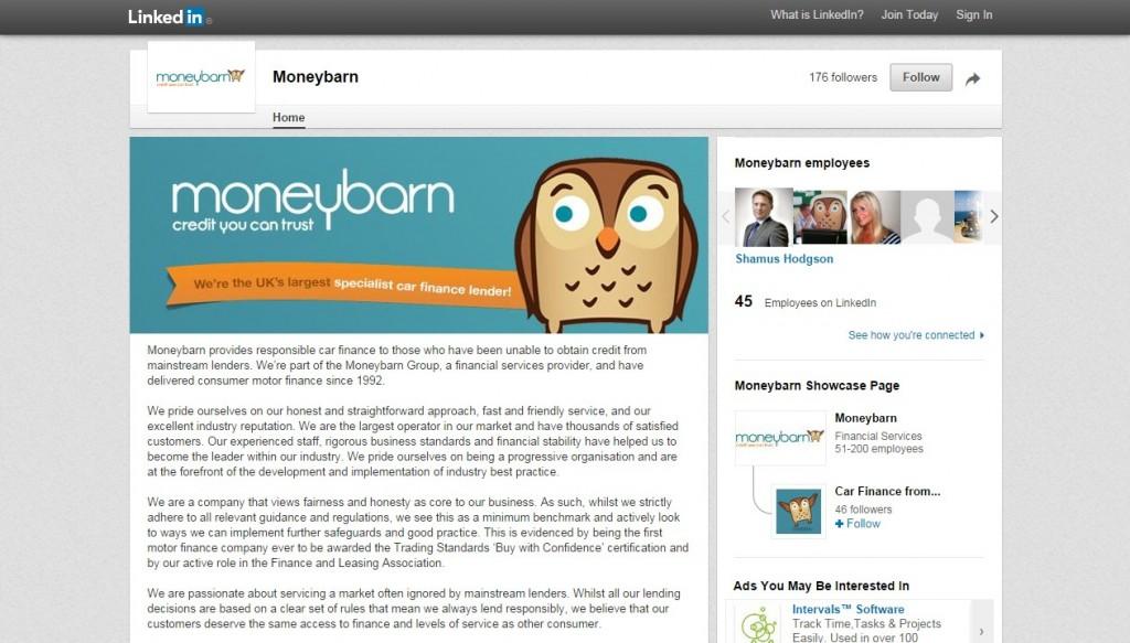 Moneybarn LinkedIn Business Page Design Codastar