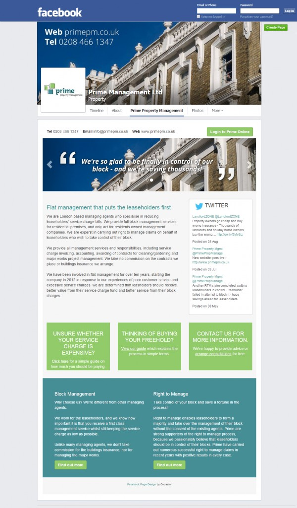 Prime Property Facebook tab design Codastar