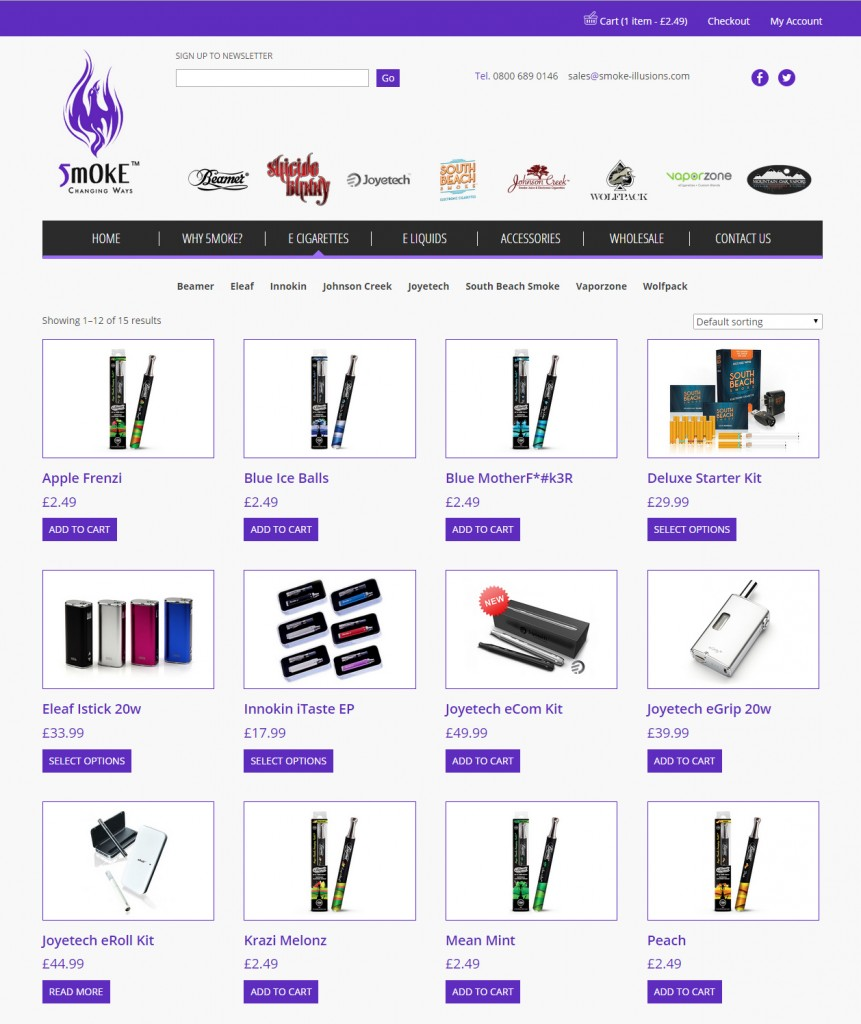 Smoke Illusions e-commerce website design Codastar