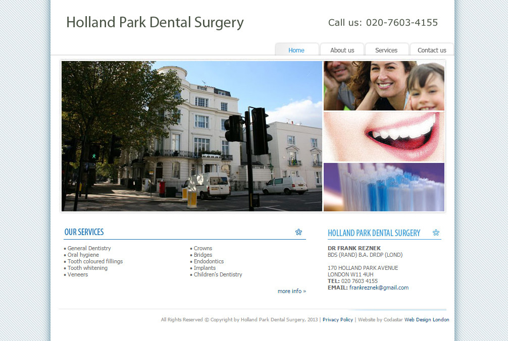 Holland Park Dental Surgery Web Design